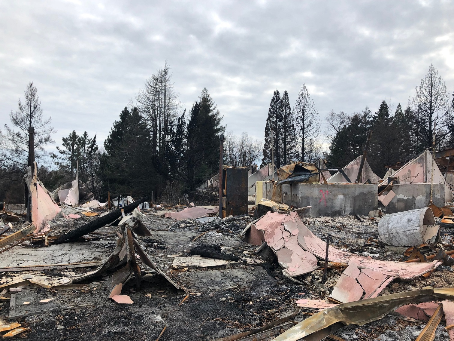 Post-Camp Fire devastation in Paradise, CA.