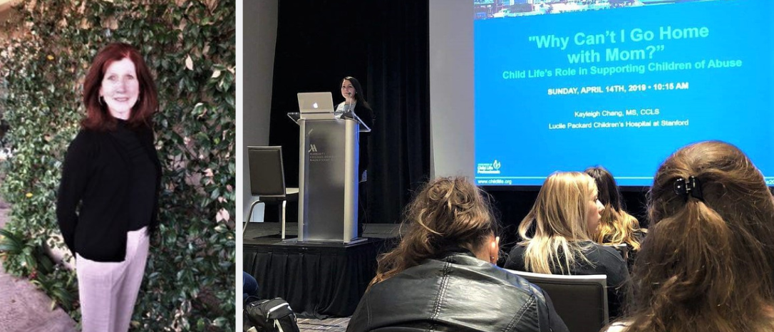 Left: Colleen Cherry; Right: Kayleigh Chang presents at ACLP 2019