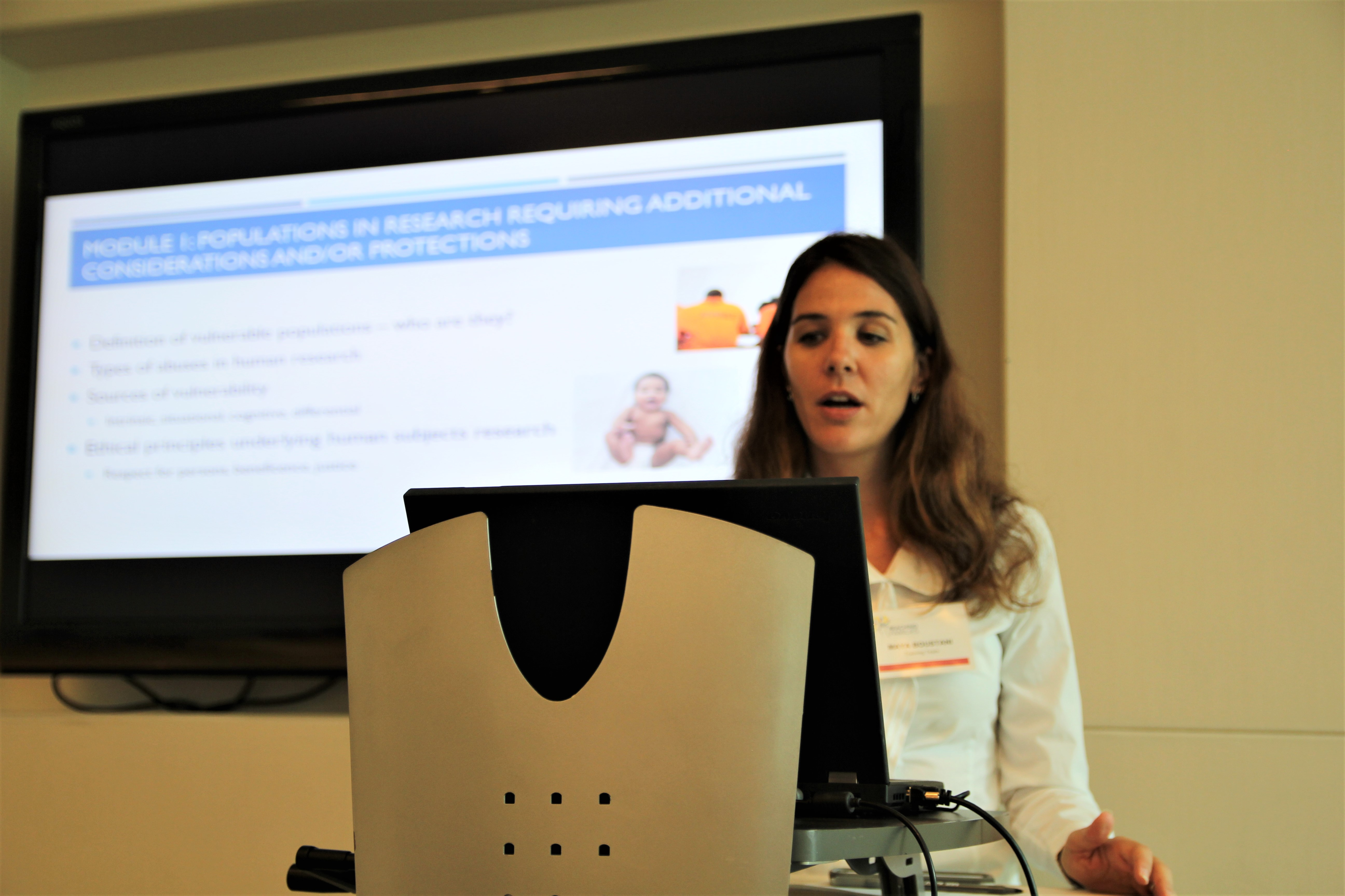 Dr. Maya Boustani at a training event for clinicians