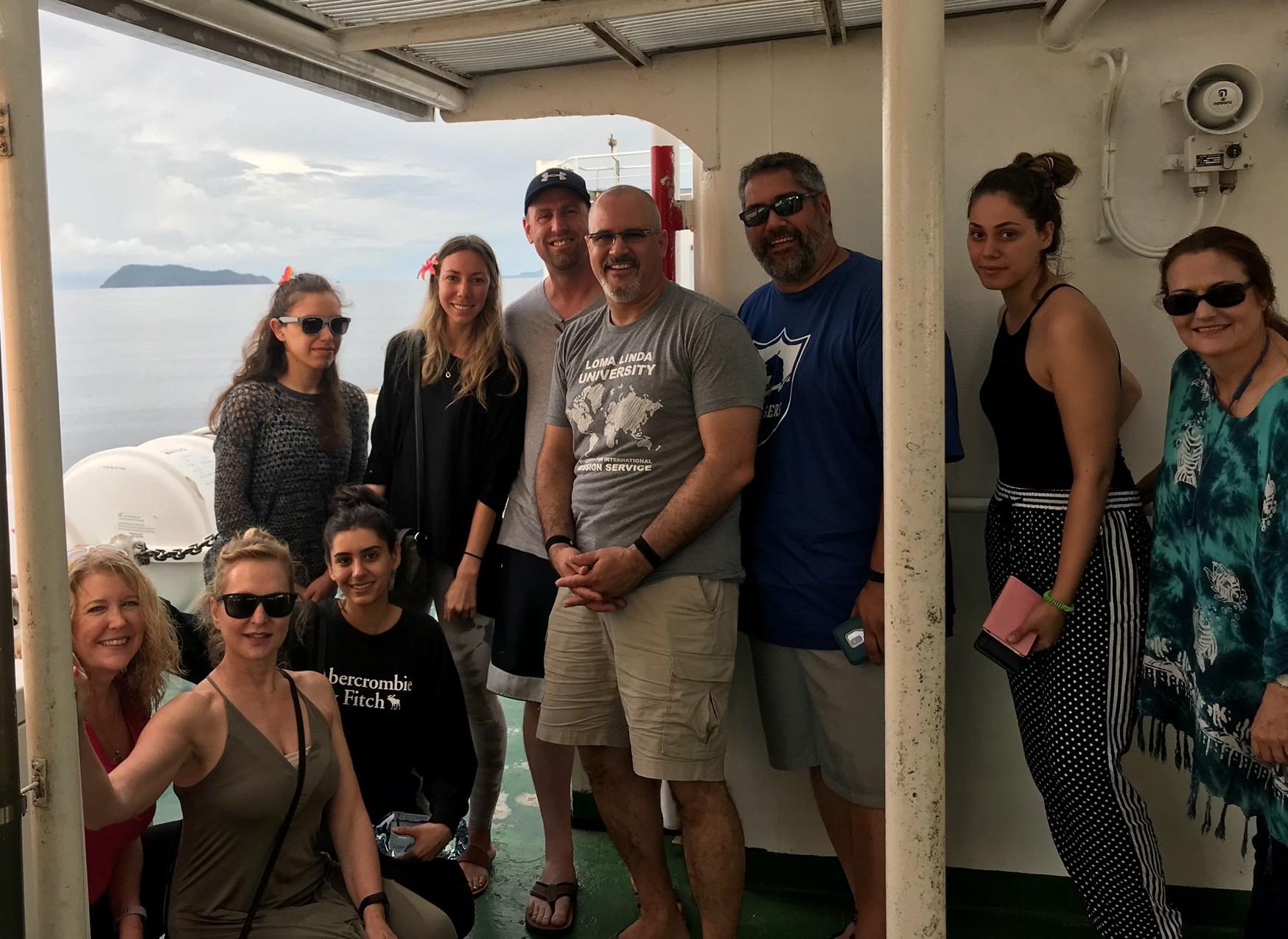 Group of students and faculty on boat in Samoa