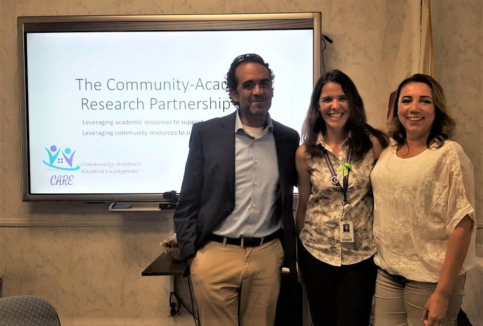 Juan Carlos Belliard, Maya Boustani, and Yesenia Ceballos at the Institute for Community Partnership Town Hall meeting