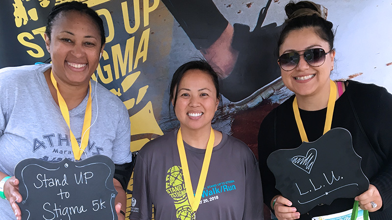 Social Work students Sophia Williams, Tori Dang, and Leslie Bautista