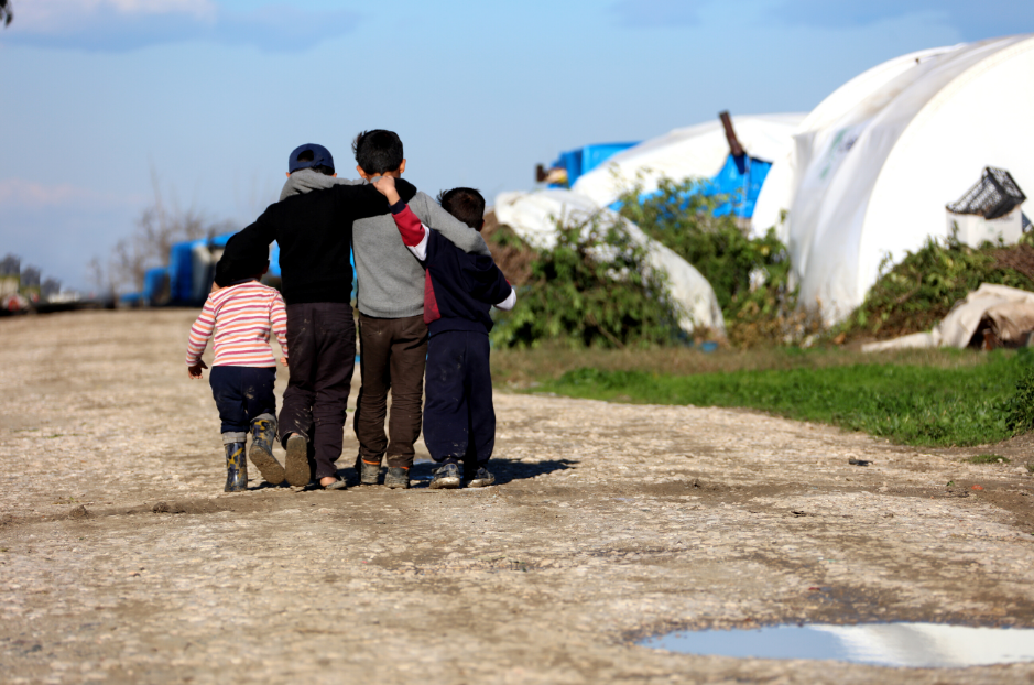 Refugee children in camp