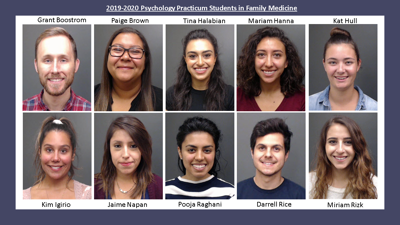 2019-20 Psychology Practicum Students in Family Medicine
