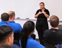 Heather Saenz teaches a group of EMTs