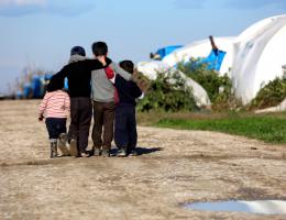 Refugee children in camp